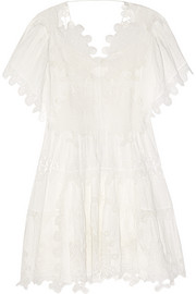 Guipure lace and plissé-muslin dress