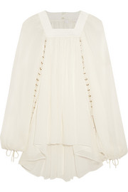 Embellished pointelle-paneled silk-gauze top
