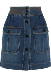 Stonewashed denim mini skirt
