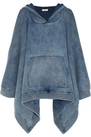 Denim-effect cotton-blend jersey hooded poncho sweatshirt