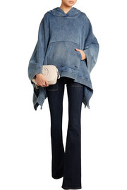Chloé Denim-effect cotton-blend jersey hooded poncho sweatshirt