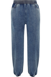 Denim-effect cotton-blend jersey track pants