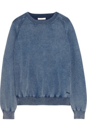 Denim-effect cotton-blend jersey sweatshirt