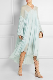 Chloé Plissé silk-chiffon midi dress