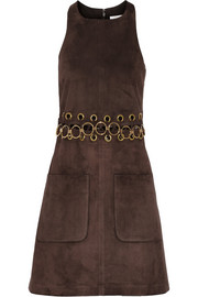 Embellished suede mini dress
