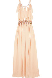 Cutout embellished silk-chiffon gown