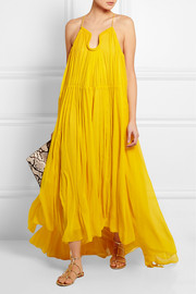 Crinkled silk-georgette gown