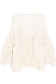 Draped silk-georgette blouse