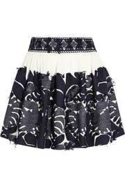 Frayed jacquard and crepe mini skirt