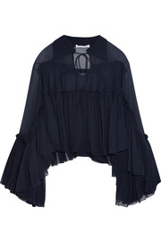 Chloé Crinkled silk-georgette top
