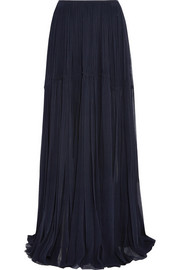 Crinkled silk-georgette maxi skirt