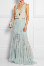 Lace-paneled crinkled silk-georgette maxi skirt