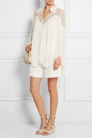 Lace-paneled crinkled silk-georgette blouse