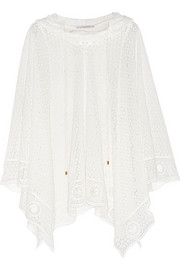Hooded cotton-blend lace poncho