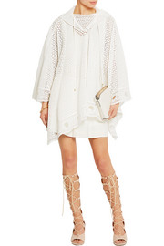Chloé Hooded cotton-blend lace poncho