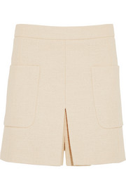 Woven stretch-cotton mini skirt