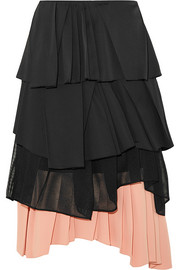 Pleated satin, cotton-blend poplin, mesh and crepe skirt