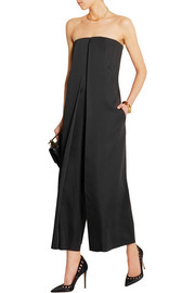 Pleated satin jumpsuit