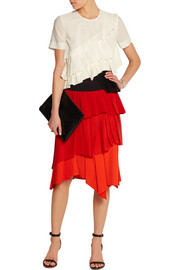 Pleated cotton, crepe, mesh and silk-georgette top