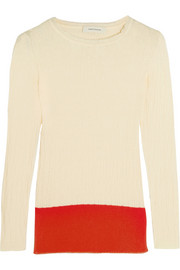 Two-tone textured-cotton sweater