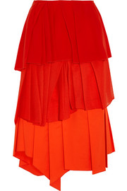 Pleated silk-georgette, cotton-poplin and mesh skirt