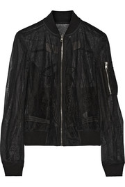 Messiah embroidered tulle bomber jacket