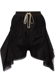 Asymmetric tulle shorts