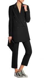 Oversized eyelet-embellished wool-blend blazer