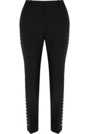 McQ Alexander McQueen Eyelet-embellished wool and mohair-blend straight-leg pants