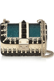 Lock mini embellished leather shoulder bag
