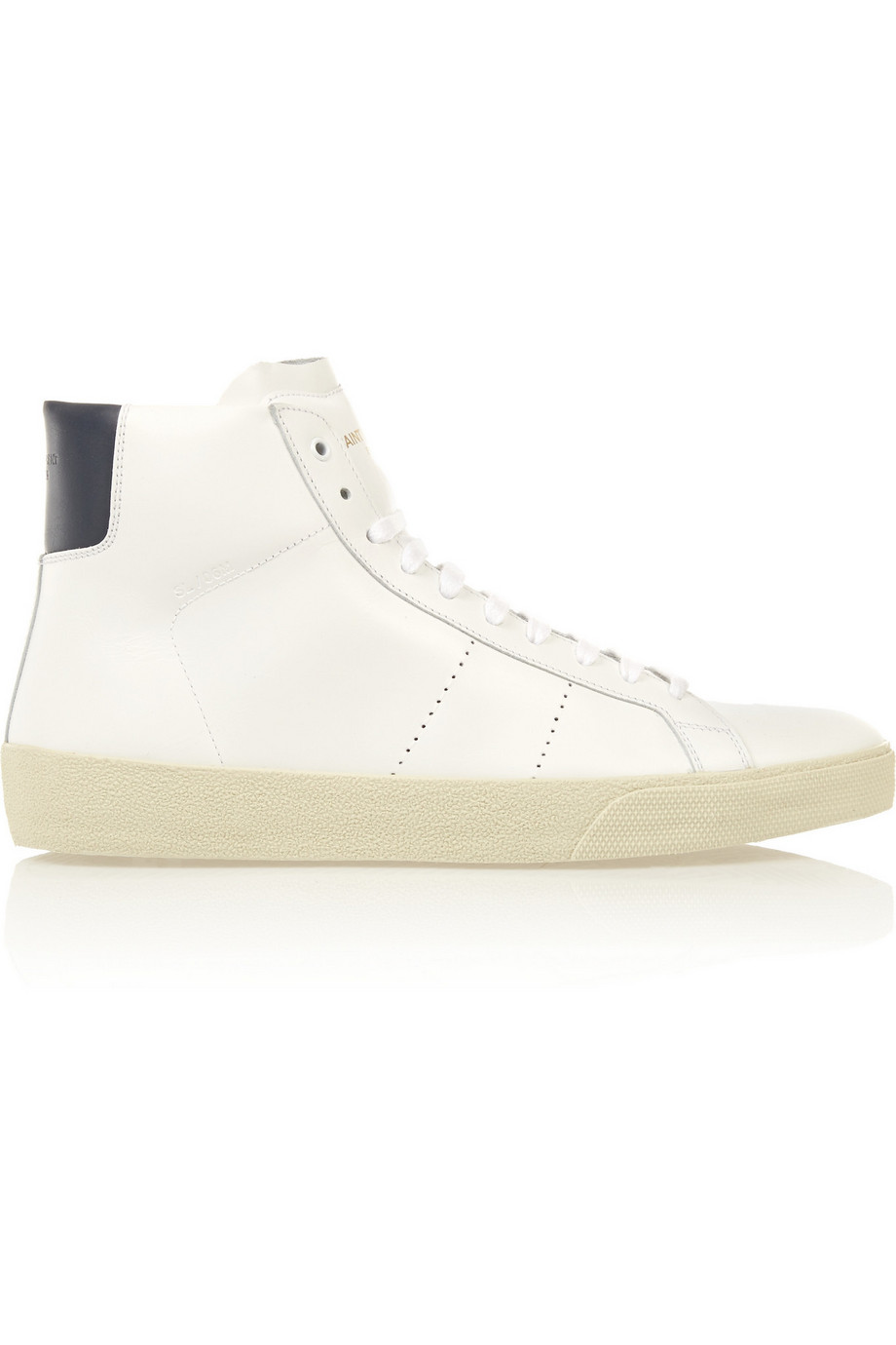 Saint Laurent Court Classic Leather High-Top Sneakers, White, Women's US Size: 8, Size: 38.5