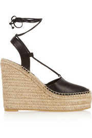 Saint Laurent Leather wedge espadrilles
