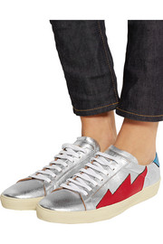 Saint Laurent Court Classic metallic appliquéd leather sneakers