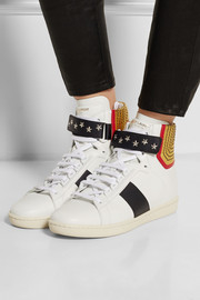 Court Classic paneled leather high-top sneakers