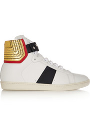 Saint Laurent Court Classic paneled leather high-top sneakers