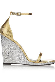 Jane glittered and metallic elaphe wedge sandals