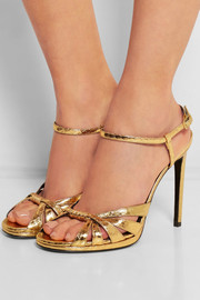Saint Laurent Jane metallic elaphe sandals
