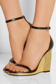 Saint Laurent Jane metallic leather wedge sandals