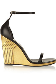Jane metallic leather wedge sandals