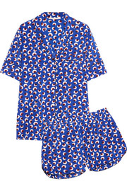 Poppy Snoozing printed stretch-silk pajama set
