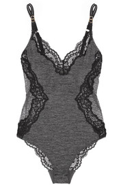 Stella McCartney Elena Readling lace-trimmed jersey and embroidered tulle bodysuit