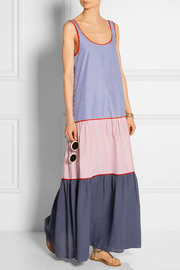 Tiered cotton-poplin dress