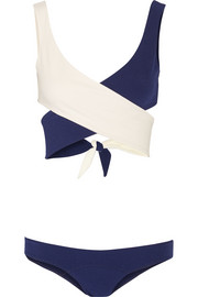 Marie-Louise two-tone crepe wrap bikini