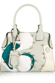 Cape mini crystal-embellished patchwork leather tote