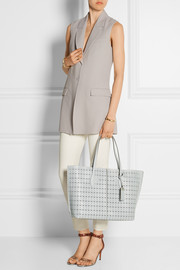 Shopping medium perforated leather tote