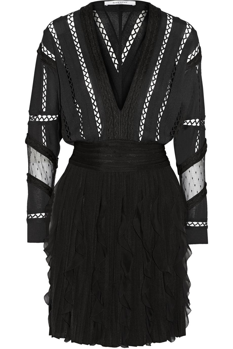 Givenchy Ruffled Silk Chiffon-Trimmed Jersey Mini Dress, Black, Women's - Dotted