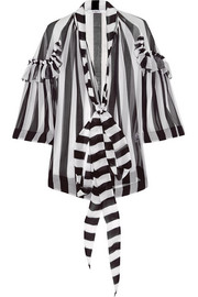 Blouse in black and white striped silk-chiffon