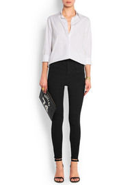High-rise stretch cotton-blend skinny pants