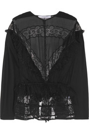 Blouse in black lace, jersey and point d'esprit