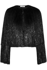 Fringed jacket in black silk-satin